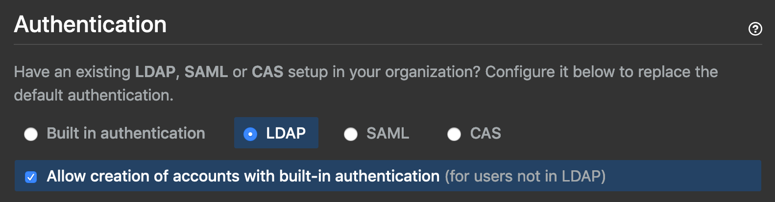 screenshot of github admin settings to allow local account creation along side ldap accounts